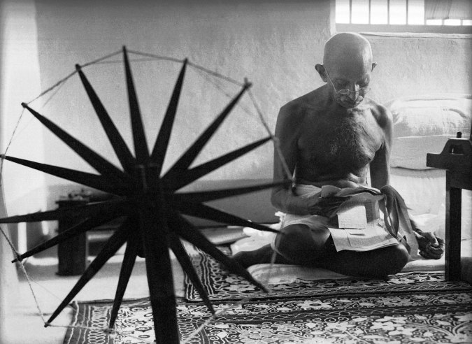Ghandi spinning