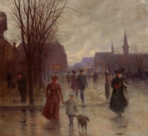 Rainy Evening on Hennepin Ave. c. 1902 by Robert Koehler