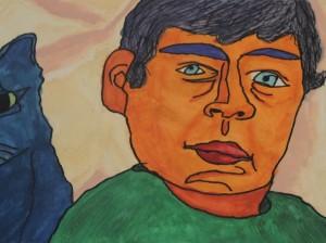 Cubist Face Orange