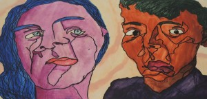 Cubist Face Two Women