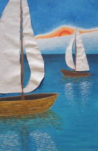 Fabric Sailboats on Blue